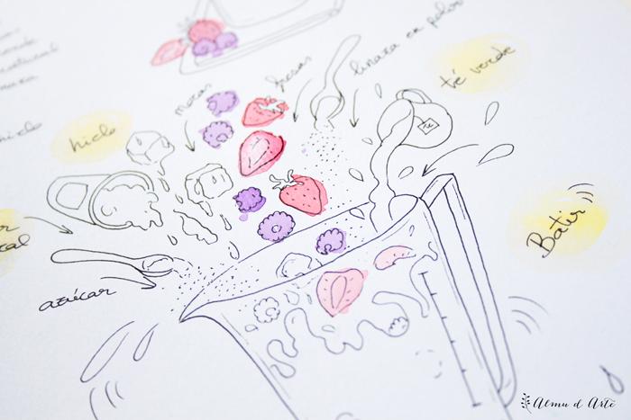 Recta ilustrada de batido de frutas