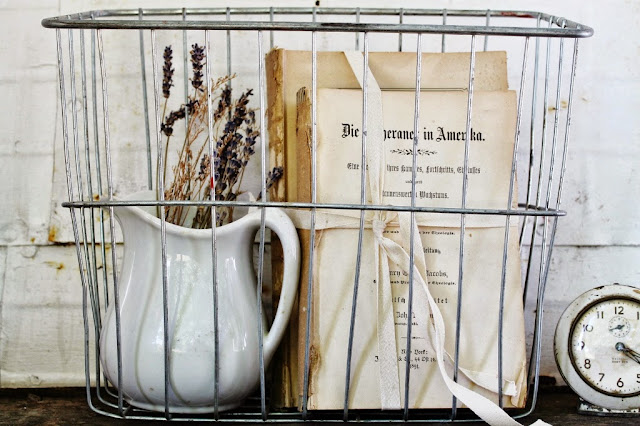 Vintage Metal Bike Basket via KnickofTimeInteriors.blogspot.com