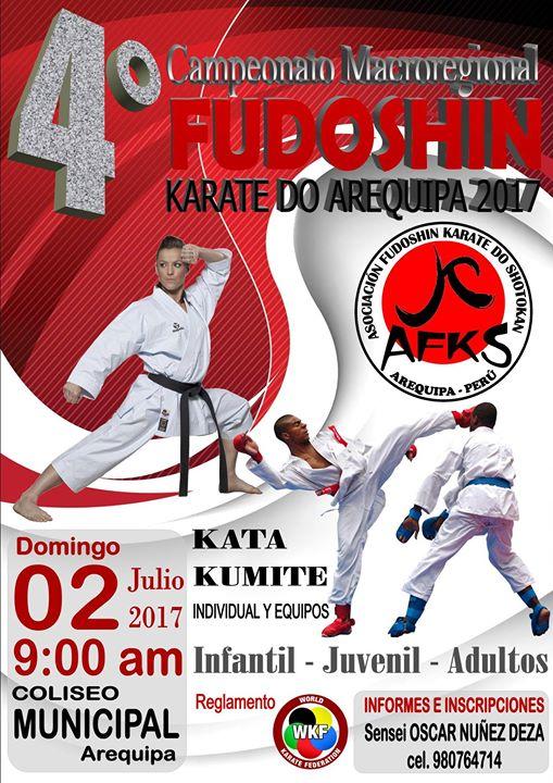 "4to CAMPEONATO MACROREGIONAL DE KARATE  ""Fudoshin Karate Do Arequipa 2017"" Arequipa-Perù"
