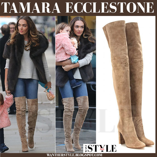 Tamara Ecclestone in brown suede gianvito rossi cuissard thigh boots and fur jacket what she wore streetstyle