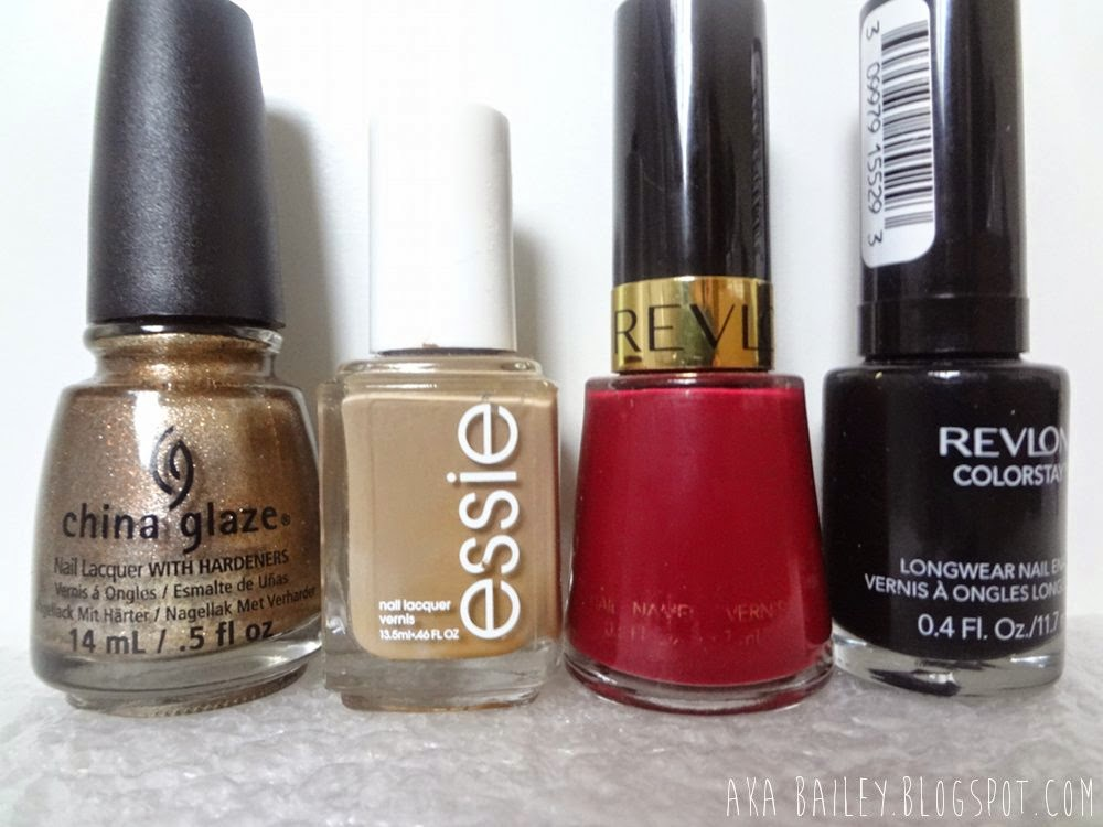 Goldie But Goodie by China Glaze, Case Study by Essie, Raisin Rage by Revlon, Stiletto by Revlon, nail polish