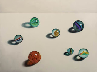 realistic painting of marbles, still life, jeanne vadeboncoeur