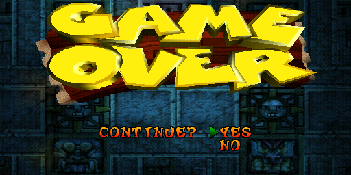 Crash Bandicoot game over screen