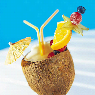 Summer Colada With Grenadine Syrup And Orange Juice Drink