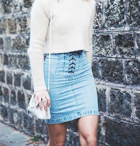 model rok jeans denim wanita desain casual simple dan elegan modern terbaru 2017/2018