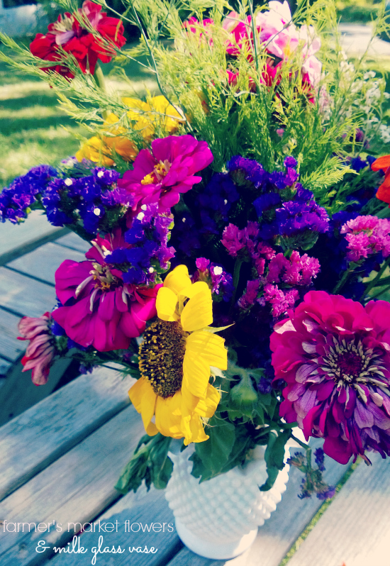 colorful farmers market flowers + vintage milk glass vase