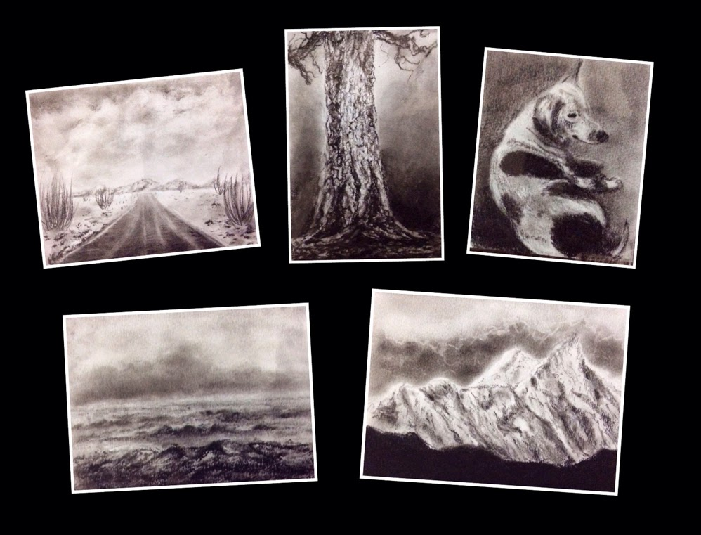 Five charcoal paintings done by student during charcoal painting workshop conducted by Manju Panchal