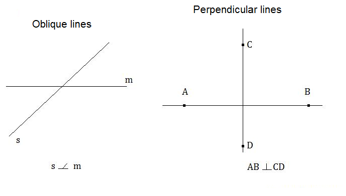 What are oblique and perpendicular lines
