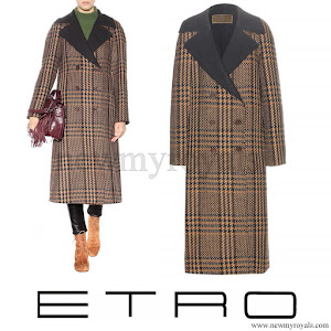 Queen Maxima wore ETRO Check wool and alpaca blend coat