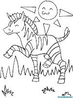 Gambar Anak Zebra Bermain Dipadang Rumput