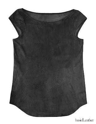 basicLeather, camiseta cuero, camiseta ante, leather top, suede top, camiseta basica