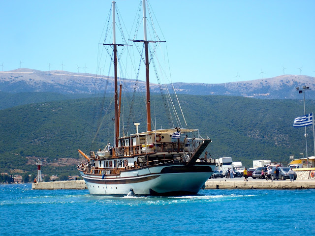Large old fashioned pirate ship in the ocean on Kefalonia, Greece