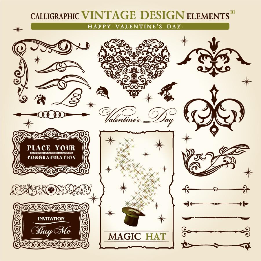 古典的なデザイン素材 classic pattern border elements イラスト素材3