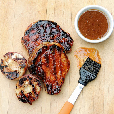 Grilled Pork Chops with Peach, Bourbon, Mustard Sauce from www.bobbiskozykitchen.com
