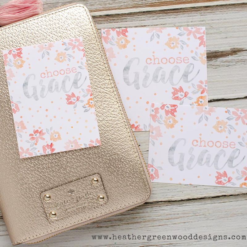 """Choose Grace"" printable 3""x4"" and 4""x4"" freebies by Heather Greenwood Designs"