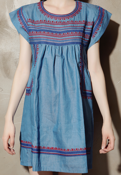 Boho Embroidered Denim Dress