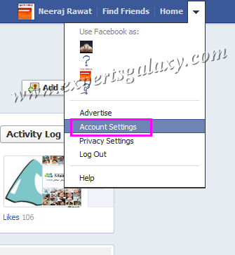 Facebook Account Settings Option