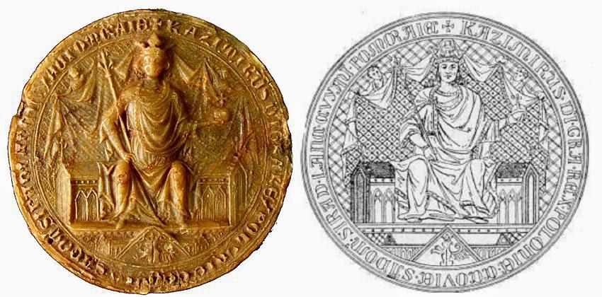 Pieczęć majestatyczna Kazimierza Wielkiego z 1336 r. Źródło:  Archiwum Państwowe w Krakowie, sygn. perg 20.