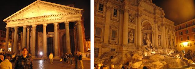 Pantheon y Fontana de Trevi de noche