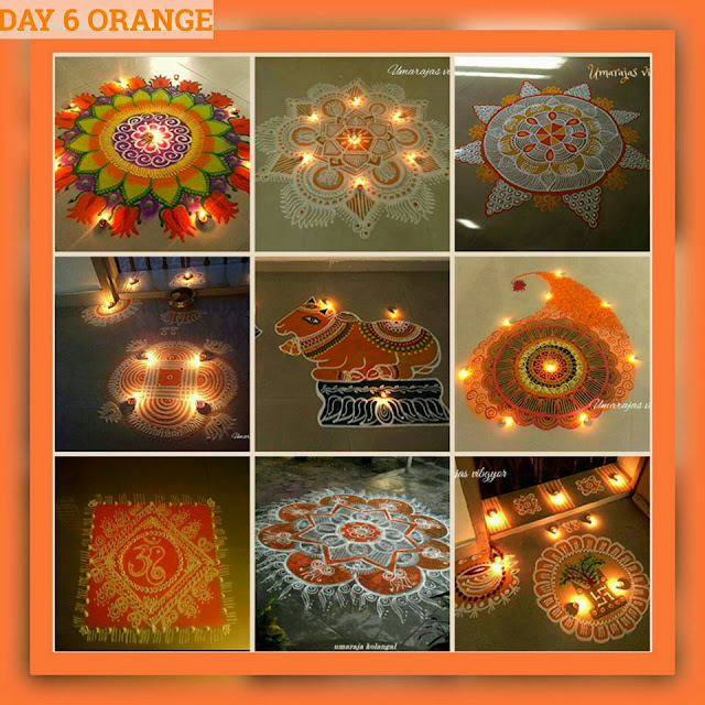 Navaratri Rangoli Day 6 - Orange