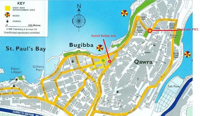 Mapa Bugibba - Malta