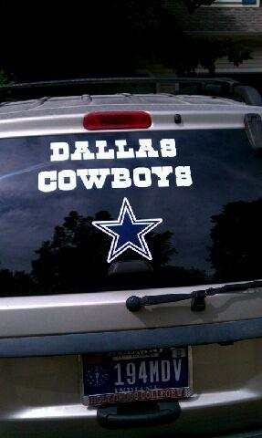 A friend called and asked me if i could make 3 dallas cowboys letters to put on her husbands car window for a birthday present