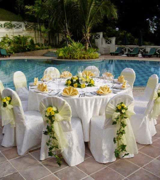 Pool Wedding Decoration Ideas pool backyard wedding decorations with large round tables and small upholstery chairs also large tent Outdoor Wedding Decoration Ideas