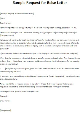sample letter requesting salary increase