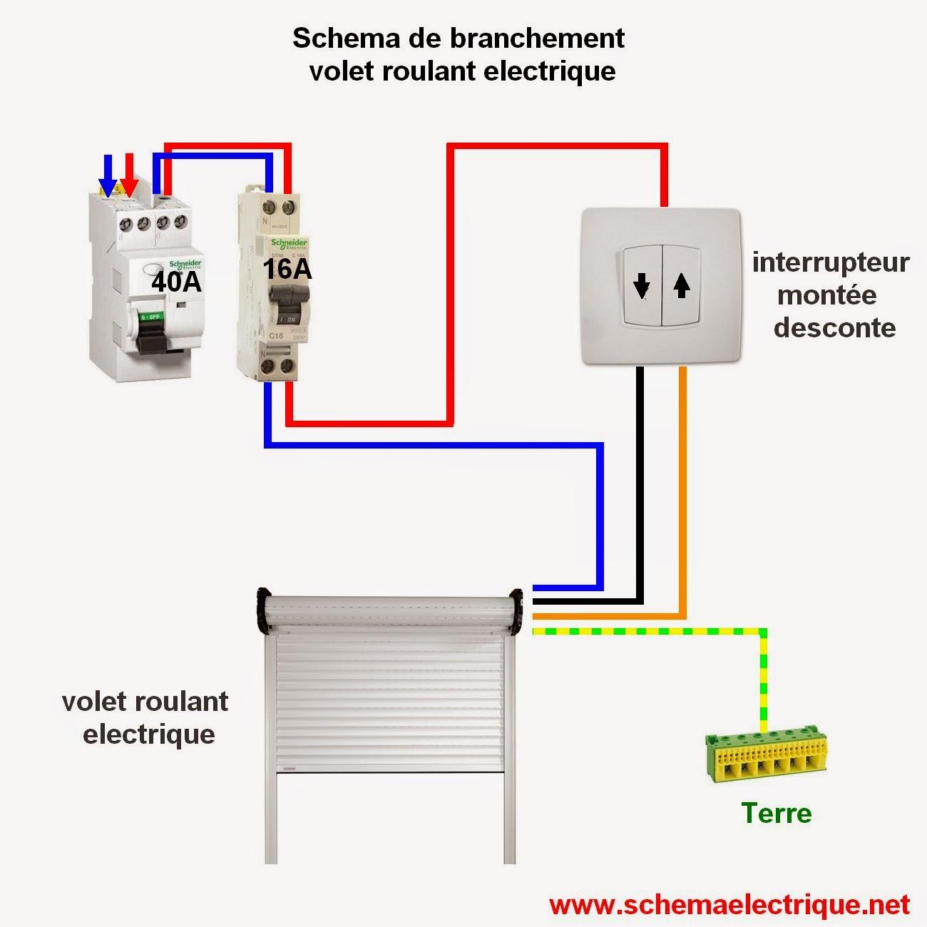 Schema electrique branchement cablage - Comment installer des volets roulants electriques ...