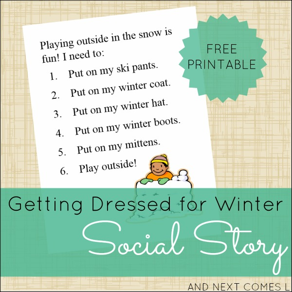 Free printable social story for winter