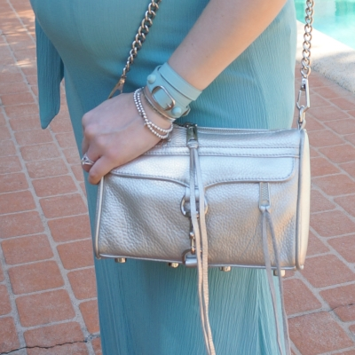 AwayFromTheBlue| Balenciaga coated stud wrap bracelet icy blue RM mini mac metallic silver accessories