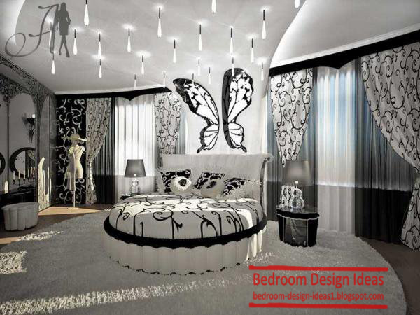 black and white master bedroom design ideas with round bed for master