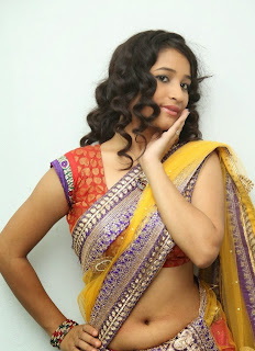 Santhoshi Sharma CUte Actress from movie Toll Free No 143 Audio Launch in Spicy Lace Border Saree