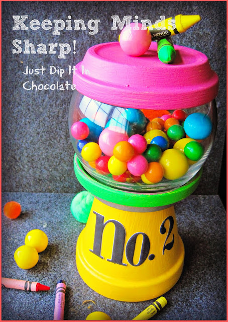 "DIY Pencil Gumball Machine Teacher's Gift, give this cute ""gumball machine"" as a nice to meet you gift to your child's teacher. It will look great on her desk with candies, cookies, paper clips or just by itself!"