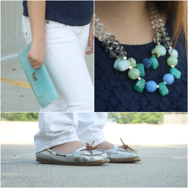 Anthropologie Necklace, Aqua Clutch, Clutch Purse, White Jeans Outfit