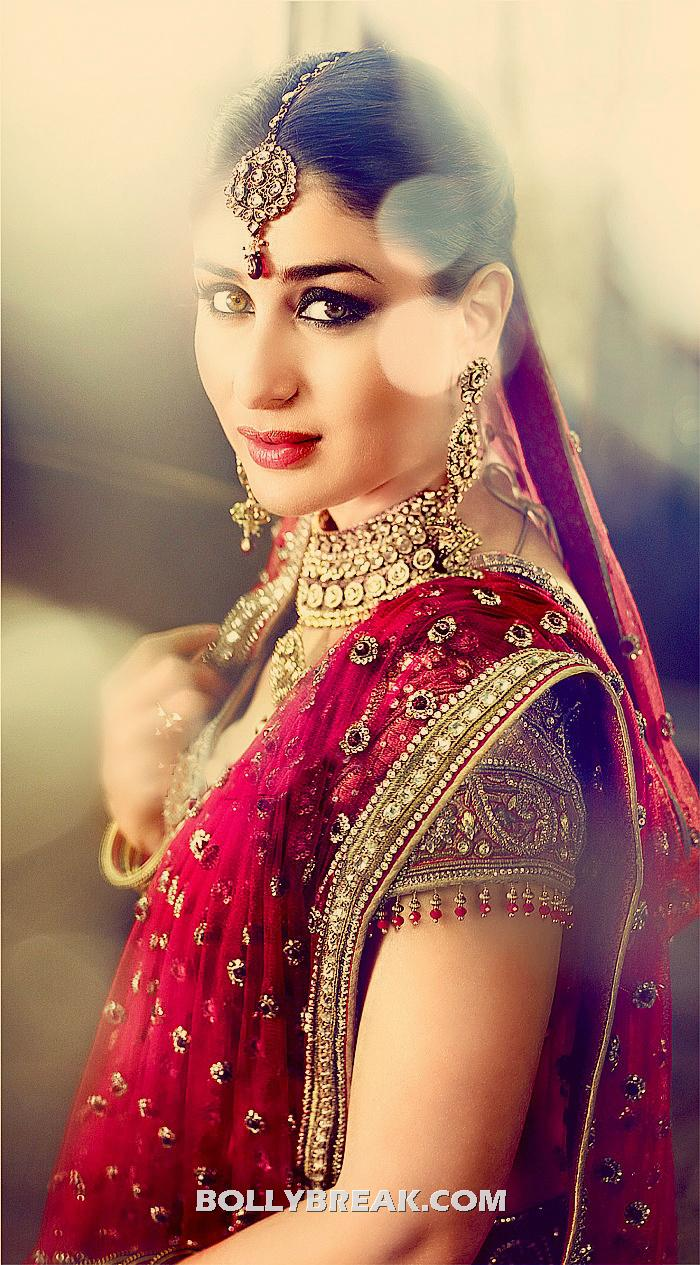 kareena kapoor as Indian Bride in Red Dress - kareena kapoor as Indian Bride in tarun tahiliani dress for gitanjali jewellery