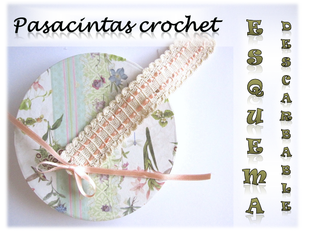 foto 1 pasacintas crochet: portada post con título esquema descargable de pasacintas de crochet para decorar álbumes de scrapbooking