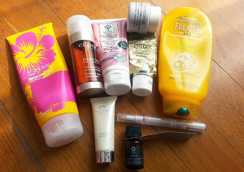 Empties, prodotti finiti, prodotti finiti febbraio 2015, framesi mask after sun, double serum clarins, phyto 9, omnia botanica, garnier fructis oleo repair 3, nota oway, monu lip balm