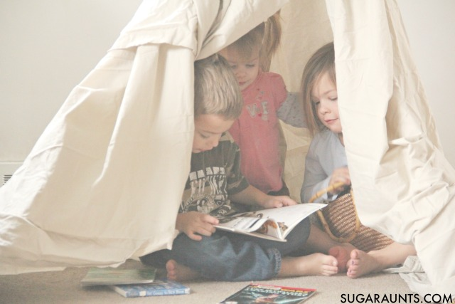How to make a teepee for indoor play that kids will love for a reading nook or pretend play space. I love it for a sensory calm down space!