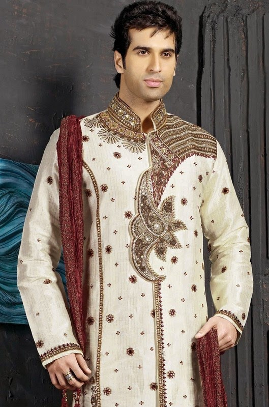 Pakistani dulha sherwani wear dresses latest designs for Best wedding dresses for mens