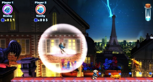 Screenshot of Paris level in video game The Smurfs 2