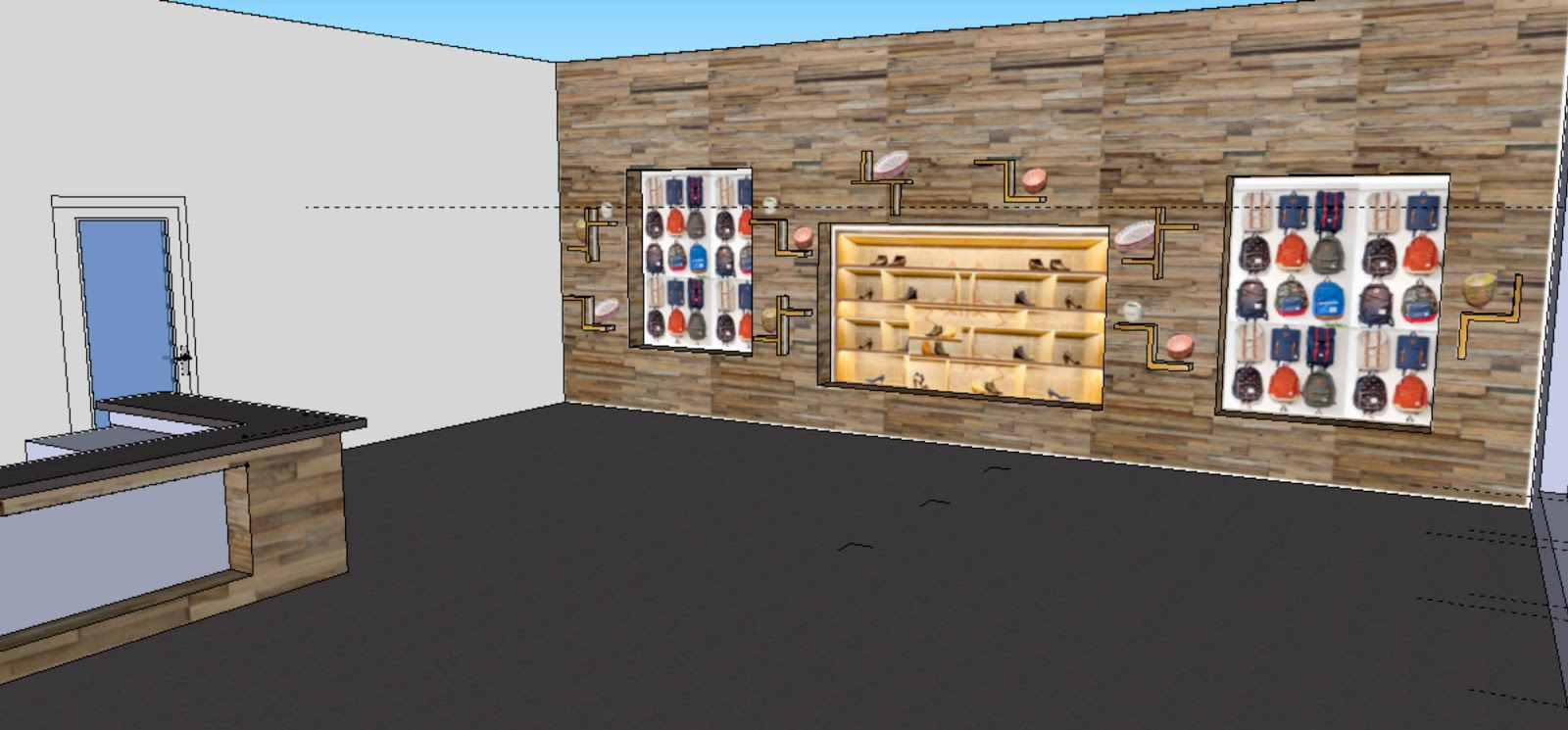 Adventures in creating workspace retail progress it is covered in sough wood slats has display shelving popping out of the wall for small sale items and large shelves built into amipublicfo Images