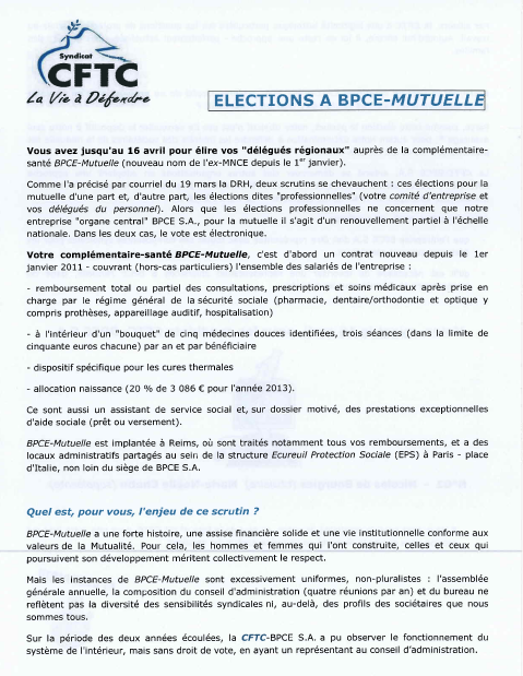 Blog Du Syndicat National Cftc Bpce Sa Et Filiales Rattachees Mars