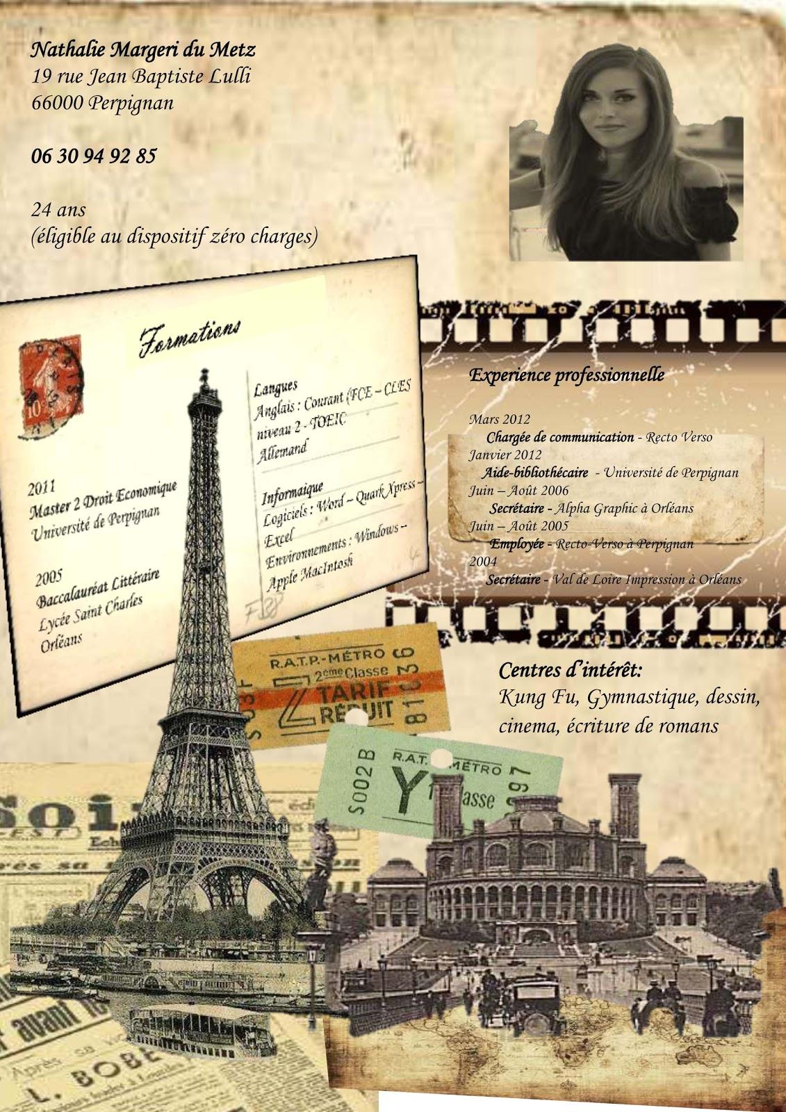 cr u00e9atrice de cv originaux  cv carte postale