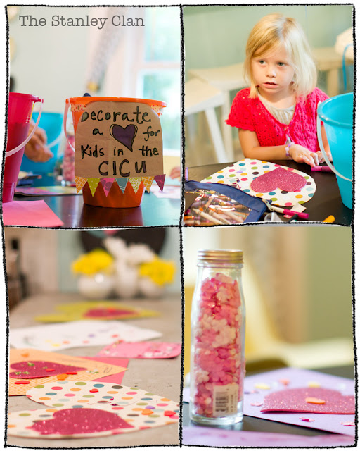 Birthday Party Craft Hearts for babies in CICU