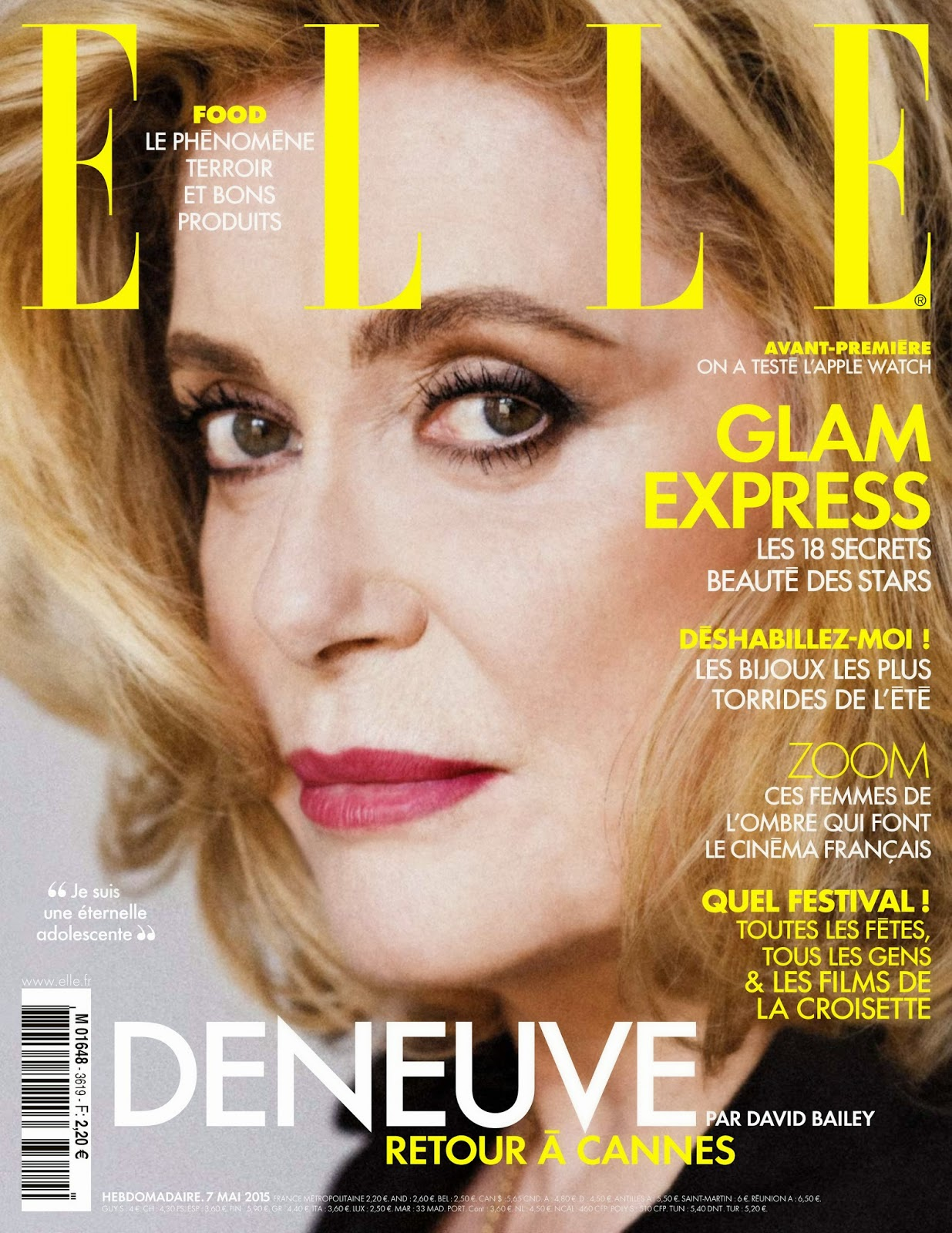 Actress, Film Producer @ Catherine Deneuve - Elle France, May 2015