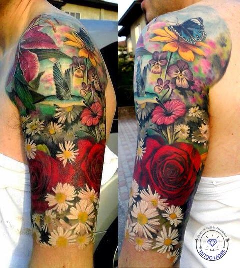 Jardim Secreto - Rosas e Beija-flor - Tattoo Feminina