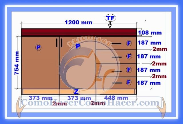 Muebles cocina plano mueble bajo web del bricolaje for Medidas para un mueble zapatero