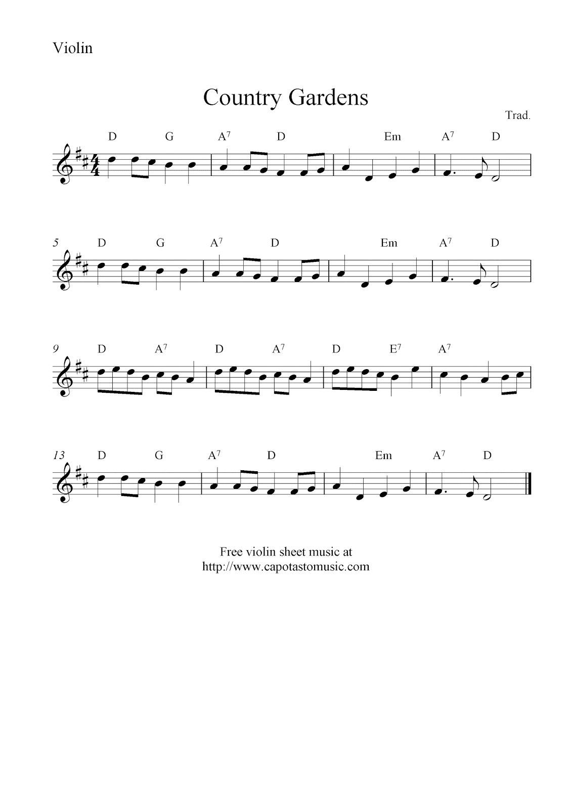 Free violin sheet music country gardens
