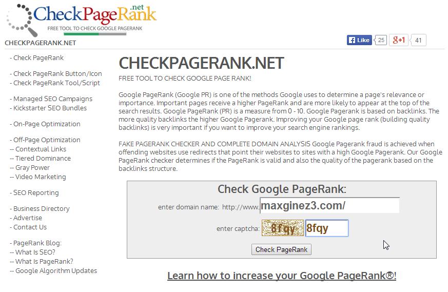 Check website pagerank by maxginez3.com